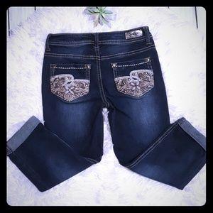 Justice crop embellished jeans size 10R